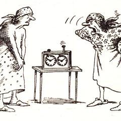 """:Всему свое время! Главное - порядок. Тюнин С. Мастера советской карикатуры. вып.5 """"Без слов"""" М., 1979"""