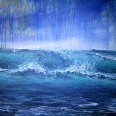 """dans le bleu I"", meer bei marseillan plage, 100 x 120 cm, Acryl auf Leinand, 2015"