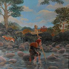 les pieds dans l'eau- huile sur panneau-1983