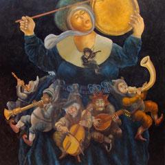 La femme orchestre-huile sur bois-80x100