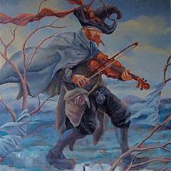 le violon de l'automne-huile sur toile-64x55