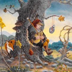 musique pour l'arbre creux-huile sur toile-35x45
