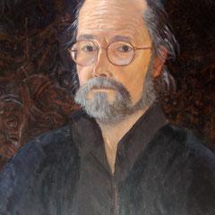 auto-portrait-huile sur bois-50x40