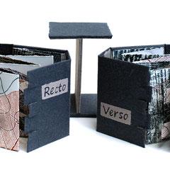 Recto / Verso, 2016, 2 bois gravés et relief, 8 X 120 cm, pliés pour former 2 livres, papier BFK Rives, support concu et réalisé par l'artiste