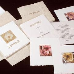 Orphée, livre d'artiste, 2009, 9 collagraphies et relief, texte, portfolio et boîtier par l'artiste