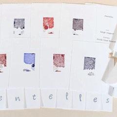 Dentelles, livre d'artiste, 2013, 9 estampes, texte Serge Wagner, porfolio par l'artiste, 19 X 13,5 X 1,5 cm