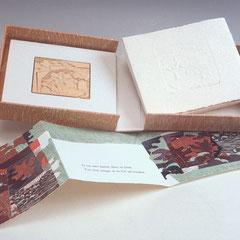 Présence, livre d'artiste, 1997, 6 bois gravés et collagraphies, poème Lise Bouchard, typographie Gilles Bédard, coffret Pierre Ouvrard