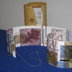 Entre, livre d'artiste 2006, 2 xylographies et collagraphies, texte par l'artiste, typographie Martin Dufour, boîtier Manubois