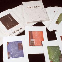 Tandem, livre d'artiste, 2008,  20 gravures en relief, portfolio et coffret par l'artiste, 29,5 X 20,5 X 1,3 cm
