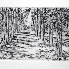 「メルボルン風景」銅版画、紙。2008年。 イメージサイズ9cm×26cm。額縁あり。小品なのでインテリア、ギフトとしても最適です。
