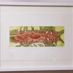 「小さな海」銅版画、紙。2011年。 イメージサイズ10cm×27cm。額縁あり。 小品なのでインテリア、ギフトとしても最適です。