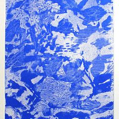 「スクロヴェー二の青」銅版画、紙。2011年。 イメージサイズ29cm×25cm。額縁あり。