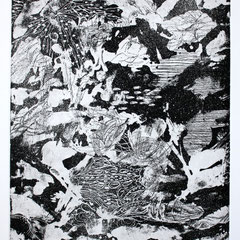 「スクロヴェー二の夜」銅版画、紙。2011年。 イメージサイズ29cm×25cm。額縁あり。  2011年の個展、グループ展に出品。 イムジチ合奏団の創立メンバーで世界的なヴァイオリニスト フェリックス・アーヨ氏が1部所蔵している。