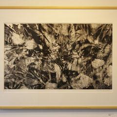 「黒のエチュード」銅版画、紙。2011年。 36cm×59cm。額縁あり。  2011年の個展に出品。 コレクションとしても最適です。