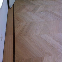 Hongaarse punt, en  Bourgogne vloer in eiken I Bis, Gerookt geolied met floorservice hardwaxolie pro