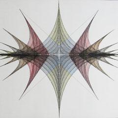 """""""Netze"""", 1974, Tusche/Buntstift, 49,8 x 49,8 cm"""