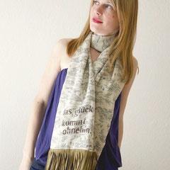 handbedruckter Schal aus antiker, japanischer Kimono-Seide mit Veloursleder-Fransen