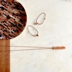 Rose´gold filled Kette mit Koralle und Ohrringe aus rose´ vergoldetem Sterling-Silber