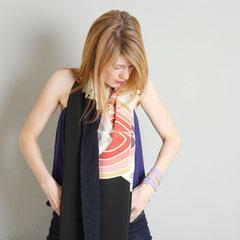 Schal aus japanischer Vintage- Kimono-Seide und Baumwoll-Batist