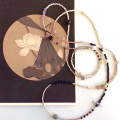 Kette aus japanischen Miyuki-Glasperlen, Halb-Edelsteinen, Perlen und Sterling-Silber