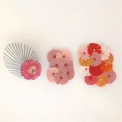 Magnet-Broschen aus Vintage-Kimonoseide und Halb-Edelsteinen