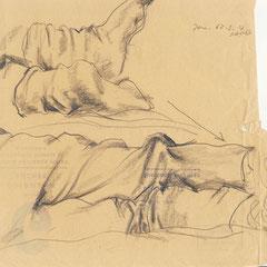 Socken, Bleistiftzeichnung auf Briefkuvert, 1961