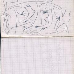 Zeichen im Schnee, Sand, Wasser oder Sprechblasen, Skizzenbuch, 1960-61