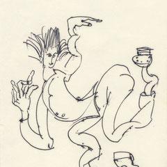 Boogie Woogie, Kugelschreiber auf Papier, 1974