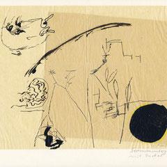 Sonnenuntergang mit Dackel fliegend, Tusche, 1961