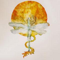 """""""Dragon de feu"""" - gravure sur tetrapack - A3 - 2021 - Mathilde Bouvard"""