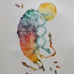 """Inside me"" - gravure sur tetrapack - A3 - 2021 - Mathilde Bouvard"