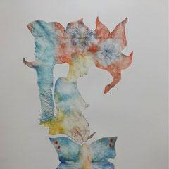 """""""La métamorphose"""" - gravure sur tetrapack - A3 - 2021 - Mathilde Bouvard"""