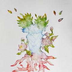 """""""Les amants de l'arbre-maison"""" - gravure sur tetrapack - A3 - 2021 - Mathilde Bouvard"""