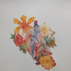 """""""Fleur d'amour"""" - gravure sur tetrapack - A3 - 2021 - Mathilde Bouvard"""
