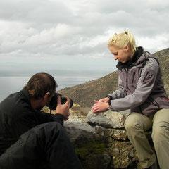 Gertjan en Laura bij de salamanderfotografie