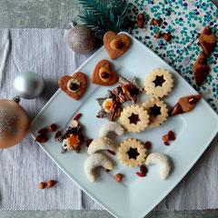 Fruchtige Hildabrötchen, Vollkorn Vanille Kipferl, Schoko Haselnuss Taler und Orange Mohn Baiser Sterne