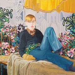 David (sitzend), 2010, Öl auf Leinwand, 150 x 135 cm