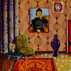 Verliebt in Blau, Acrylic on canvas, 40x40cm, 2020