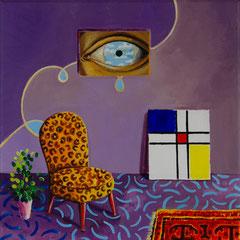 Die Tränen des dritten Auges, Acrylic on canvas, 30x30 cm, 2020