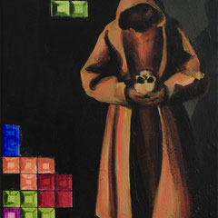 Tetris von Assisi, Acrylic on canvas, 40x25cm, 2017