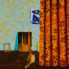 Der rote Faden, Acrylic on canvas, 40x40 cm, 2020