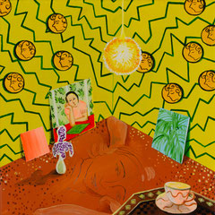 Das gelbe Zimmer, Acrylic on canvas, 40x40 cm, 2020
