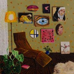 Das wartende Zimmer, Acrylic on canvas, 40x40 cm, 2018