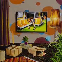 Umzug, Acrylic on canvas, 40x40 cm, 2018