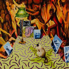 Die Optimistin, Acrylic on canvas, 40x40 cm, 2019