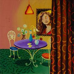 Der Wunschtisch, Acrylic on canvas, 40x40 cm, 2020