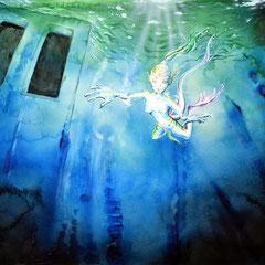 """Unterwasseratmen – aus: """"Fragmente einer verlorenen Zukunft""""; 2017; 40 x 50 cm; Acrylfarbe/Airbrush auf Papier"""