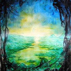 Vom Ufer der gezählten Möglichkeiten; 2011; 67 x 45 cm; Tusche, Airbrush auf Printpapier