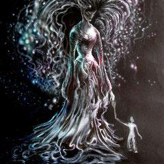 Trost und Stärke; 2014; 100 x 70 cm; Acryl, Farbstift, Airbrush auf Karton