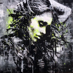 "<b>ELEGANCE OF THE WIND</b><br>80 x 80 cm<br><a style=""color:#db6464;"" target=""_blank"">Vendu</br></a> <alt=""art streetart portrait woman girl wind elegance urbanart france french artist graffiti"""